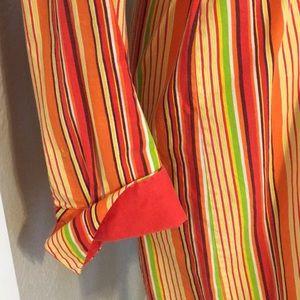 Lacoste Dresses - Lacoste Orange Green Striped Shirt Dress Preppy! S